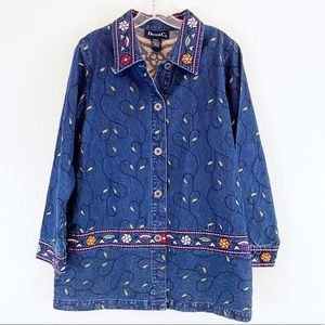 Embroidered Floral Denim Jacket Tunic Size Small